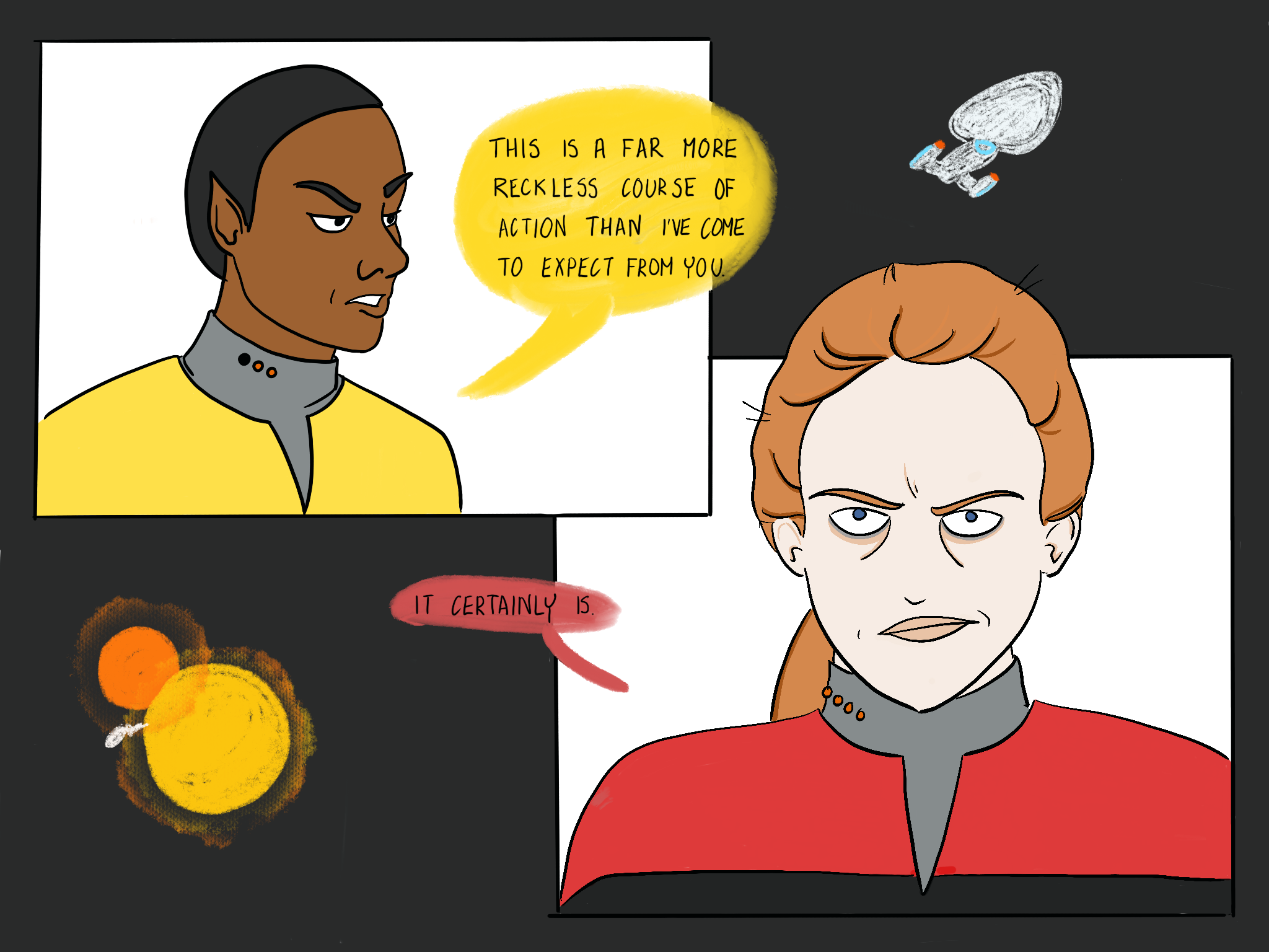 """A crude cartoon depicting Tuvok and Janeway's exchange (""""This is a far more reckless course of action than I have come to expect from you"""") as she flies Voyager through the binary stars."""